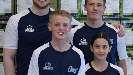 The four St Ives Swimming Club aces who represented Cambs are, back, Andy Weatheritt and Ollie Fitt,