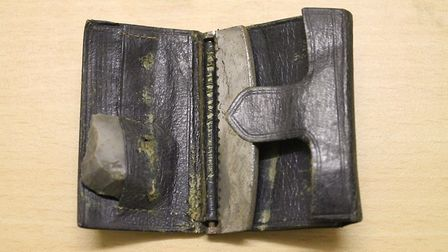 The 137-year-old wallet with flint and steel, used as a lighter. Picture: ST ALBANS DISTRICT COUNCIL