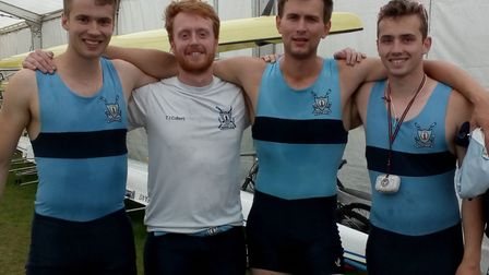 The St Neots Rowing Club coxless four are, left to right, Bryce Taylor, Tom Colbert, Max Taylor and