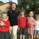 Bernard's Heath Infant School summer event with Ark Farm. Pictured are headteacher Hannah Rimmer wit