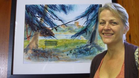 Michele Head, who won the St Albans trophy for her painting 'Spying on St Albans Cathedral'. Photo: