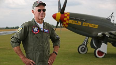 United States Air Force Heritage Flight's Lee Lauderback who flew the North American P-51 Mustang Be