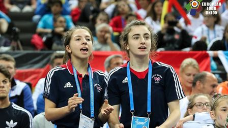 Amy Platten and team-mate Yasmin Javadian cheer on the rest of GB.