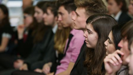 Sandringham School sixth form students listen to the leader of the Liberal Democrats Tim Farron spea