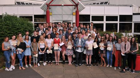 Students picking up their A Level results at Sandringham School.