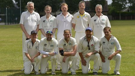 Brampton, pictured ahead of their Hunts League Division Four success against Kimbolton 2nds, are, ba