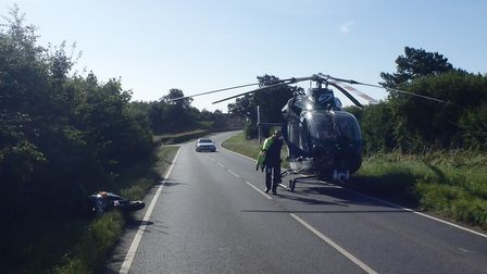 The scene following the collision on the B1090 near Abbots Ripton