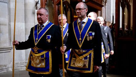 Members of the parade enter the Abbey. Picture: ST ALBANS ABBEY
