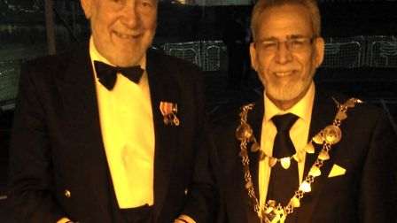 Sir Robin Knox-Johnston with Mayor Mohammad Iqbal Zia. Picture: ST ALBANS COUNCIL