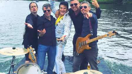 Elvis with the band at Henley. Photo: SUE DIAS/CHISWELL STUDIOS