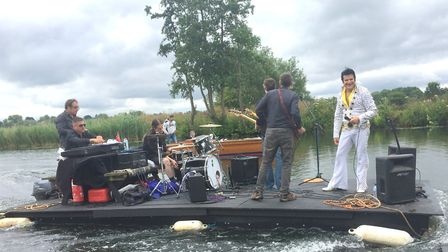 Elvis aboard the raft. Photo: SUE DIAS/CHISWELL STUDIOS