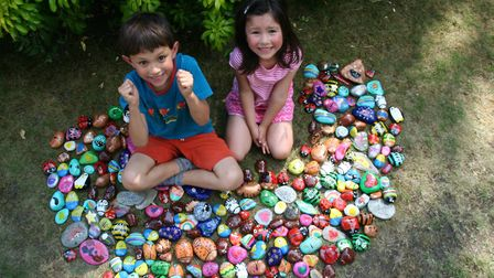 Harry and Ella with the rocks. Photo: JOHN AND NICOLA WONG