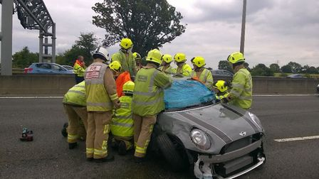 Emergency services at the scene of a crash on the M1. Picture: BCH Road Policing @roadpoliceBCH