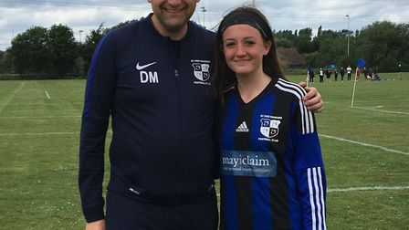 Molly Sutherland with St Ives Rangers coach Darren Marjoram.