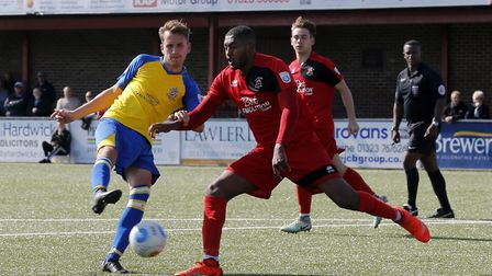 Sam Merson is hoping goals for St Albans City will fire him into the football league. Picture: LEIGH