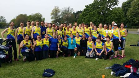 Some of the St Albans Striders team that helped clinch a sixth successive title at the Midweek Road