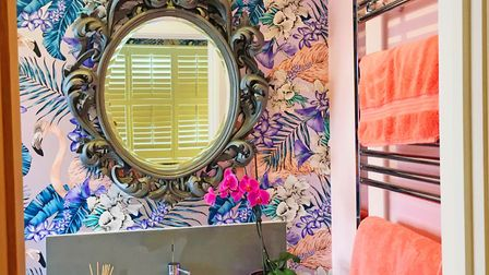 This flamingo-print creates an unforgettable en-suite (Emma Kosh)