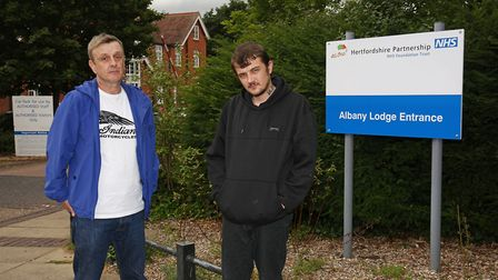 Stephen Paul and Stephen David Adams Jnr outside Albany Lodge. Picture: Danny Loo