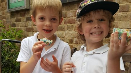 Cameron Mace and Sonny Trussell at their bake sale for WaterAid at Reed First School.
