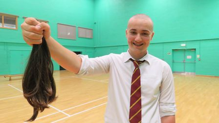 Connor Lay had his hair shaved off to be donated to the Little Princess Trust, and to raise money fo