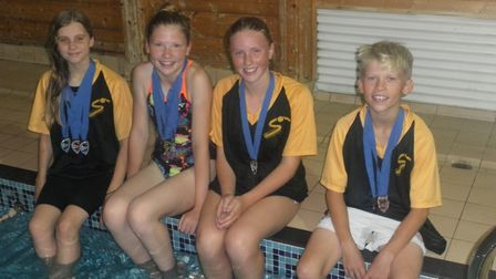 The First Strokes medalists are, from the left, Chloe Butler, Jessica Spavins, Nia Baird and Freddie