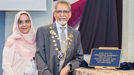 St Albans mayor and his wife with the Cunningham Hub time capusal plaque. Picture: Mark A Slater