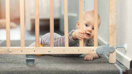 Be prepared: It's wise to install safety gates on the stairs before baby starts crawling