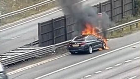 There was a car fire on the M25 near St Albans. Picture credit: Highways England.