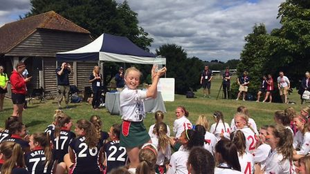 St George's Harpenden lacrosse captain with the 2017 World cup festival U13 trophy