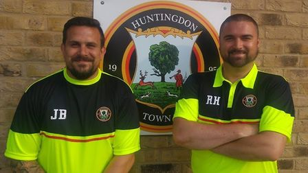 New Huntingdon Town managers Jimmy Brattan (left) and Ryan Hunnings. Picture: HUNTINGDON TOWN FC