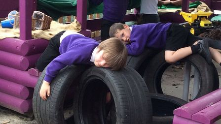 It's tiring work for the young class. Picture: Courtesy of Therfield First School