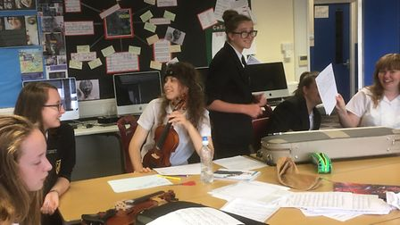 Meridian students taking part in a workshop for the Cracked Voices project.