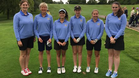 The Cambs & Hunts women's second team, featuring Lucy Mills-Cripps of Ramsey GC (left), ahead of the