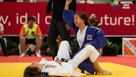 A delighted Amy Platten after winning gold at the European Youth Olympic Festival. Picture: EUROPEAN