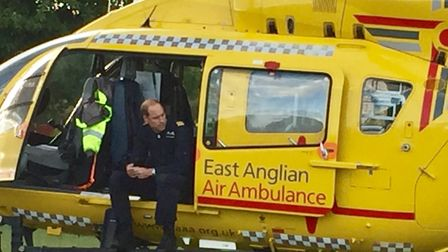 The Duke of Cambridge manned the East Anglian air ambulance which landed in Royston yesterday evenin