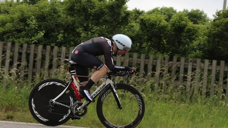 Tim Phillips on his way to victory in the latest St Ives CC time trial.
