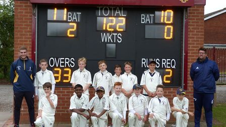 The Hunts team are, back row, left to right, Dan Robinson (coach), Oliver Beasley, Daniel Wells, Mat