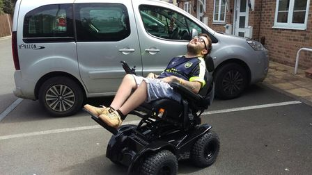 Danny King Gordon and his new wheelchair.