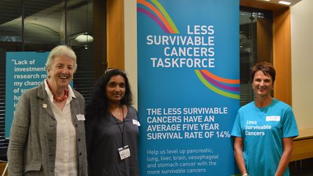 Left to right: Chair of Trustees at Pancreatic Cancer UK, Lynne Walker, Anna-Ruby Yates, and Charlot