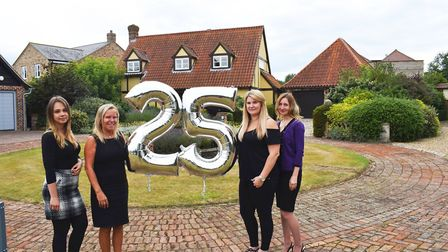 Becky Cousins, Denise Cane, Gemma Hurley and Fae Perkins celebrating 25 years of the Potton show cen