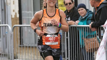 Sarah completed the Ironman UK swim, cycle and run challenge in 14 hours and 24 mins.