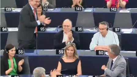 Martin Horwood is applauded in the European parliament. Photograph: European Parliament.