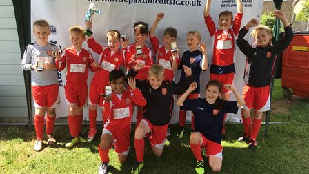 The two Bluntisham Blasters Under 10s teams who played in the Little Paxton tournament.