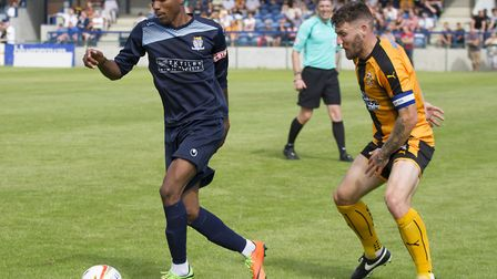 Jevani Brown in action for St Neots Town against Cambridge United earlier this summer. Picture: CLAI