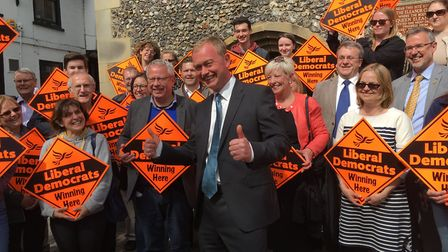 Tim Farron with Liberal Democrat supporters in St Albans.