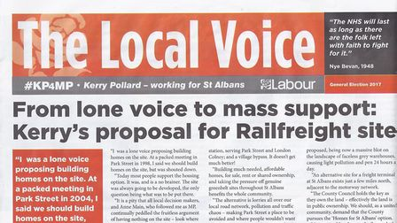 A mock tabloid paper Kerry Pollard's campaign produced for his St Albans campaign. Photo: FRASER WHI