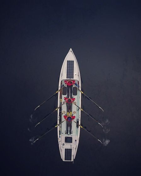 Top-down view of the boat