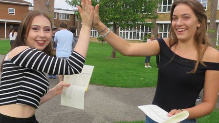 Rachel Burgess and Chloe Compton pleased with their marks.