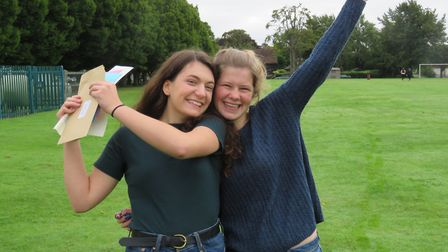 Josie Shohet and Elizabeth Marriage celebrate their results.