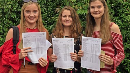 Hinchingbrooke pupils Nicole Covell, Emilie Cummerson, and Hannah Ryder.